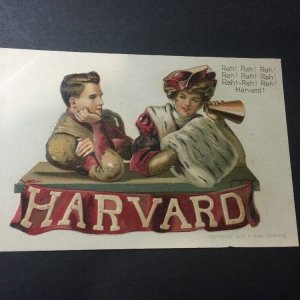 Harvard University Cambridge 1907 College Girl & Football Player Postcard Artist F. Earl Christy