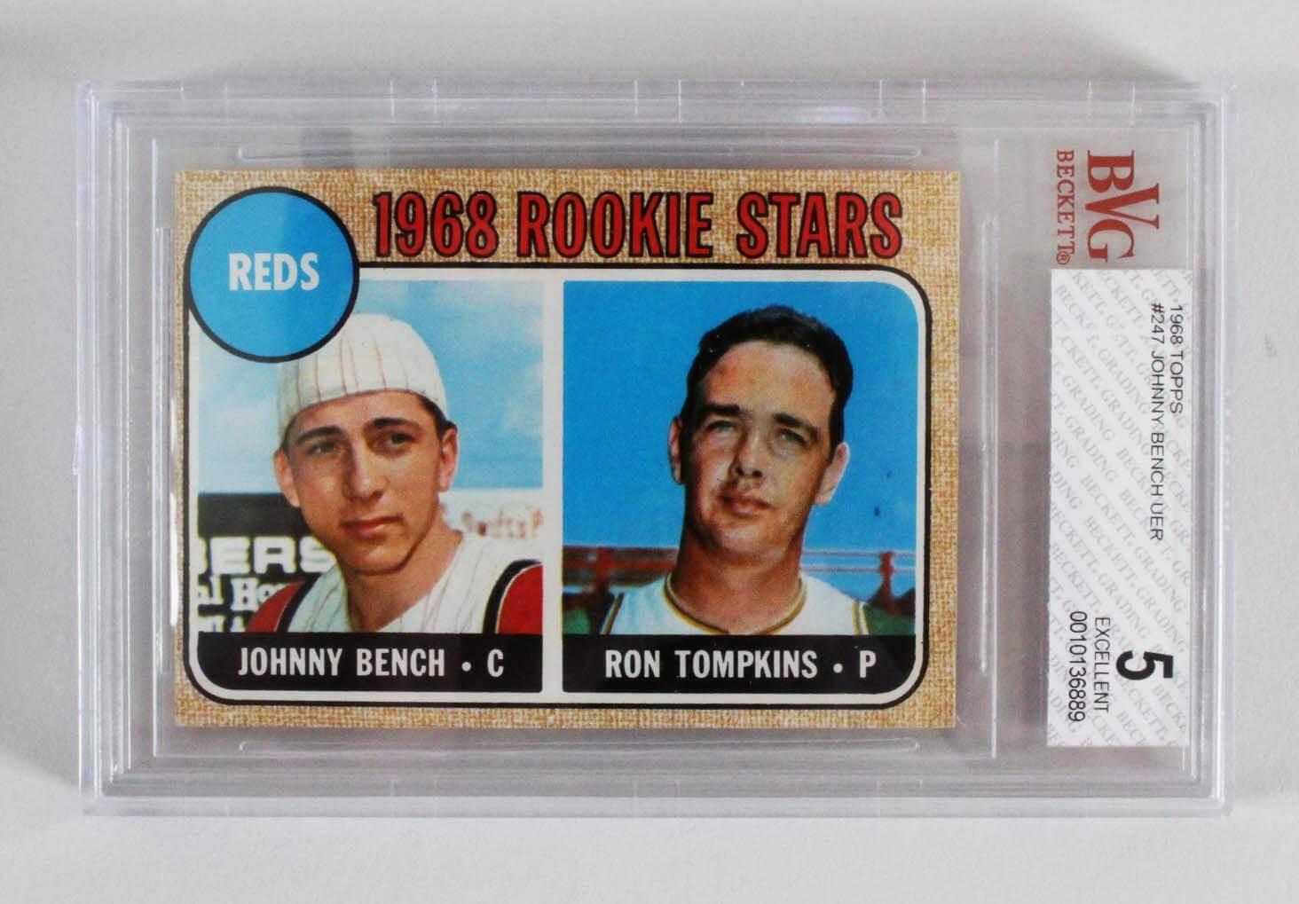 1968 Topps Johnny Bench Rookie Card Rc 247 Cincinnati Reds Graded Bgs Bvs 5 Ex