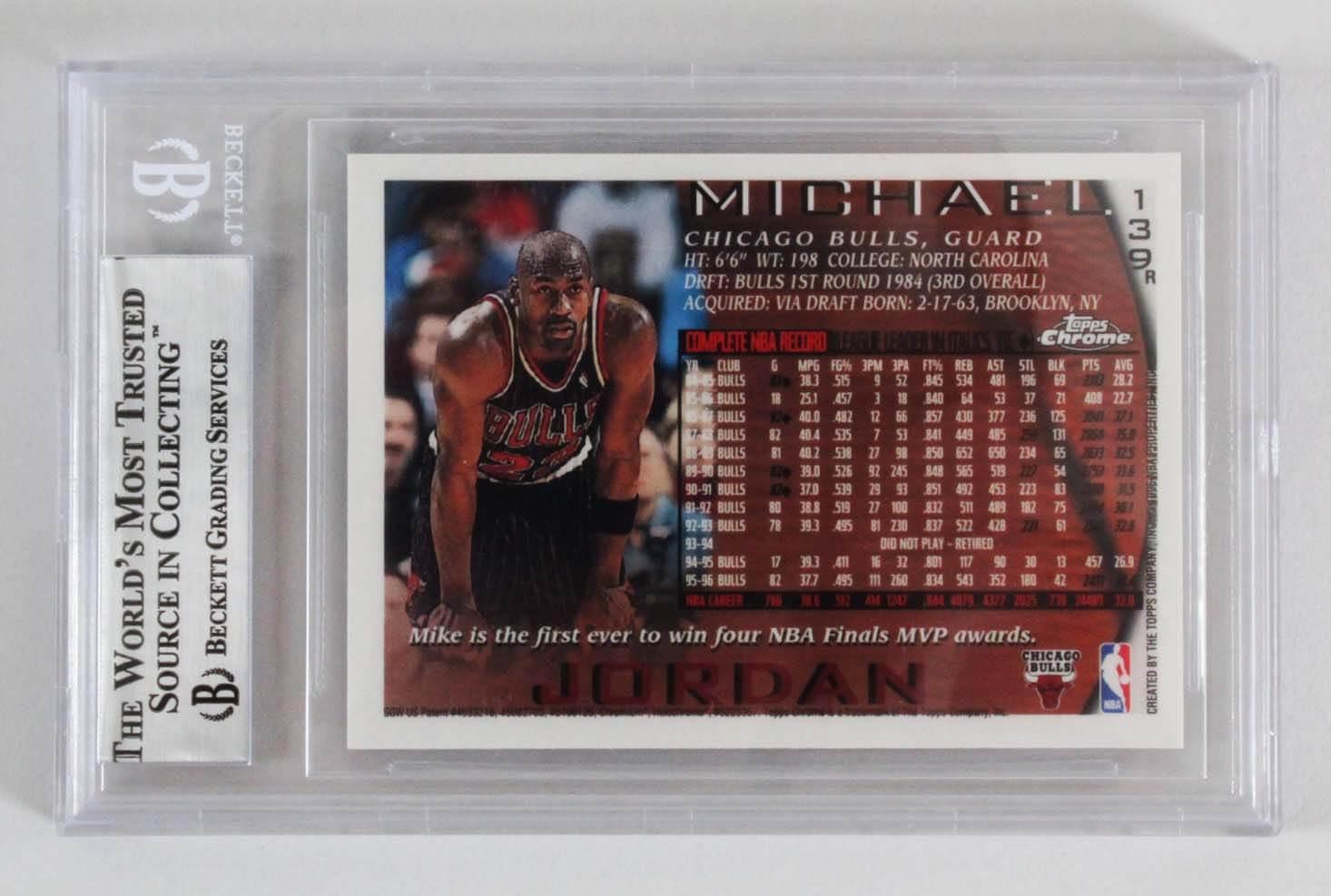 320741d6fe7c 1996-97 Topps Chrome Michael Jordan Refractor Card –  139 Graded Beckett  BGS 8.5 NM-MT+