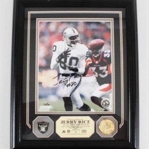 Jerry Rice Signed Oakland Raiders 8x10 LE 24/80 Photo Display - COA Player Hologram