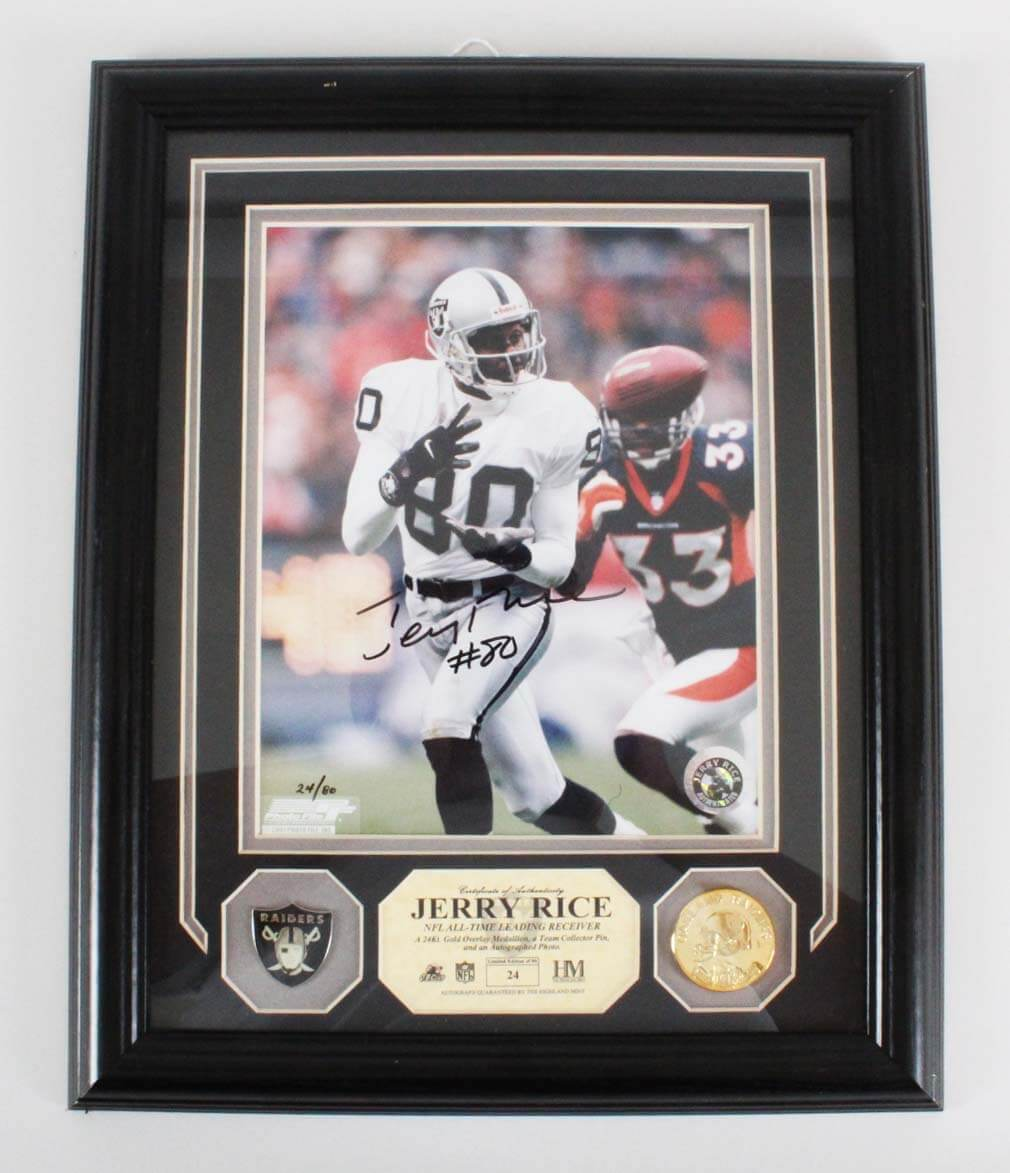 Jerry Rice Signed Photo Display Raiders - COA