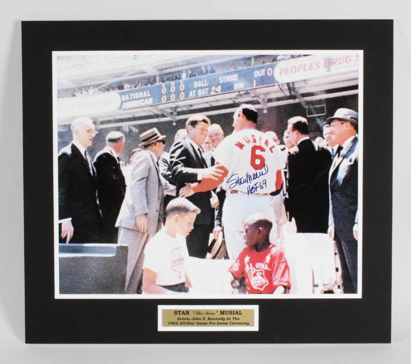 Stan Musial St. Louis Cardinals Signed 16x20 62 All-Star Game Photo - COA