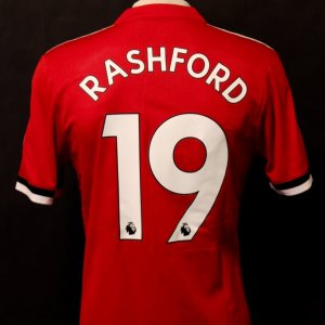 A Marcus Rashford Game-Used #19 Manchester United FC Home Shirt.  2017/18 English Premier League.