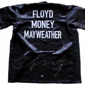 Custom Boxing robe has been hand-signed in silver paint-pen by Floyd Mayweather Jr.