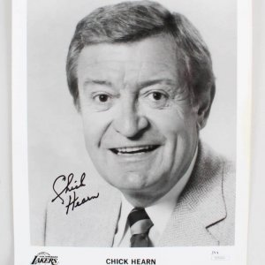 Chick Hearn Signed 8x10 Los Angeles Lakers Photo - COA JSA