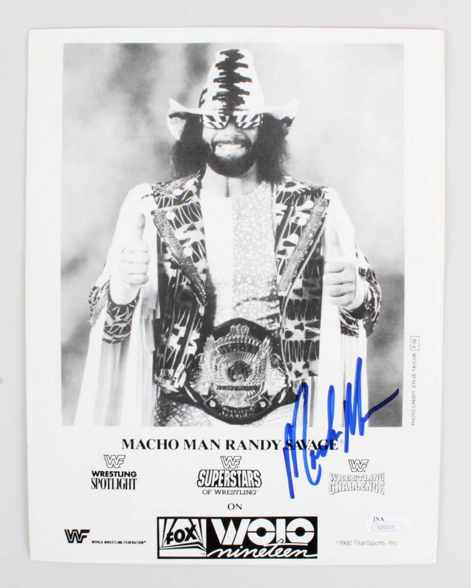 """Macho Man"" Randy Savage Signed 8x10 WWF Photo - COA JSA"