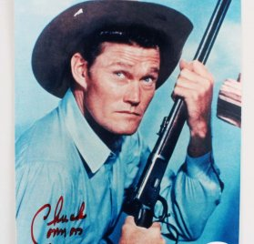 Chuck Connors Signed 8x10 Western Photo - COA JSA