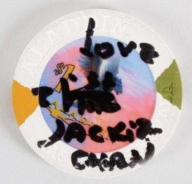 Jackie Chan Signed & Inscribed  Aladdin $1 Casino Chip - COA JSA
