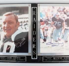 Jim Otto & Howie Long Signed 8x10 Photos in Plaque - COA JSA