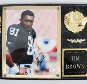 Oakland Raiders Tim Brown Signed Photo Plaque – COA JSA