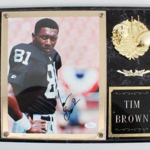 Tim Brown Signed Photo Plaque Raiders - COA JSA