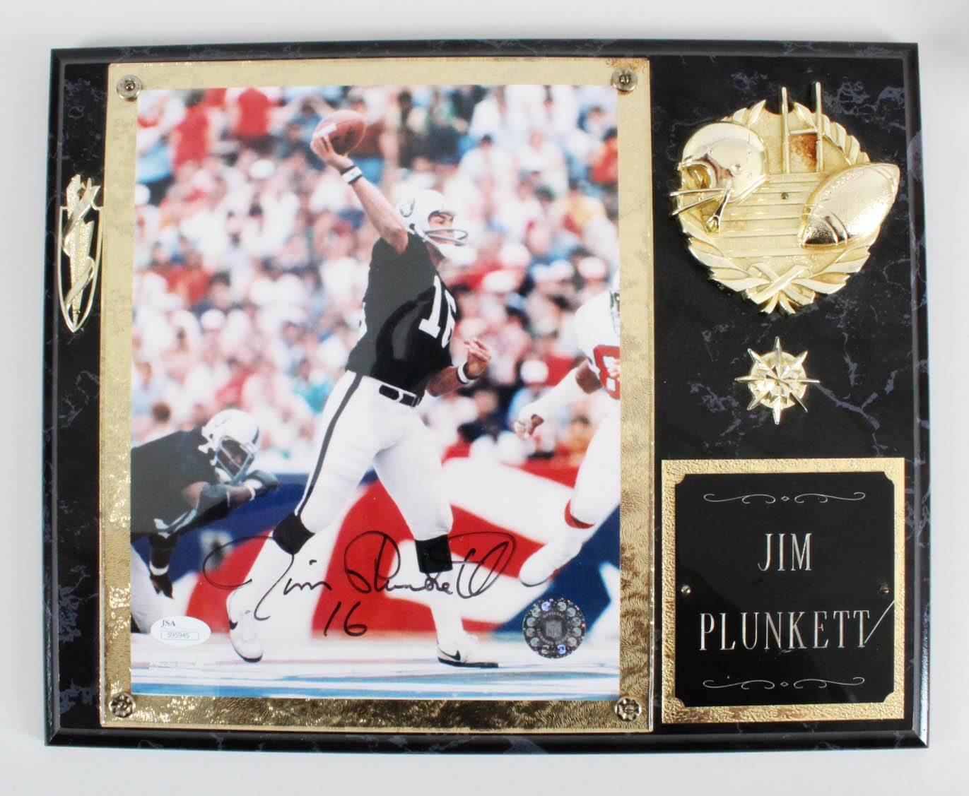 Jim Plunkett Signed Photo Plaque Raiders - COA JSA