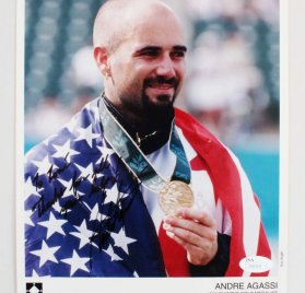 1996 Andre Agassi Signed & Inscribed 8x10 Gold Medalist Photo - COA JSA