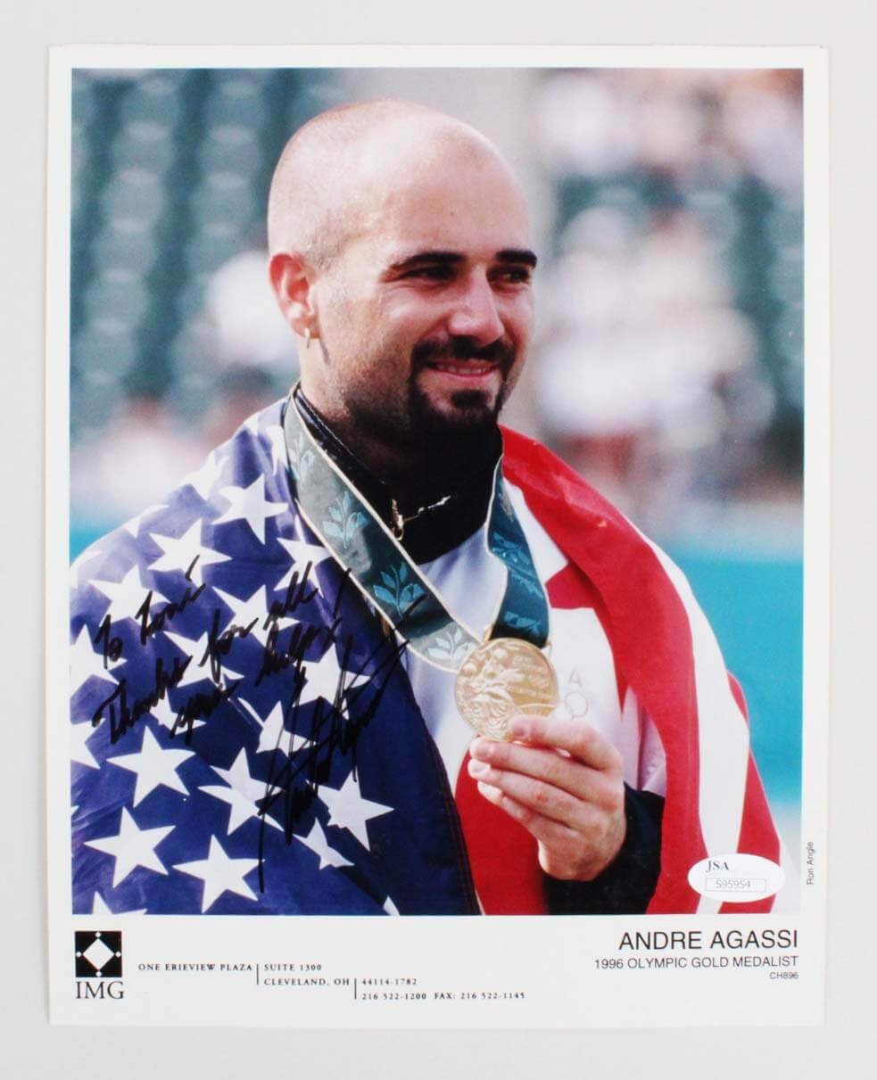 1996 Andre Agassi Signed & Inscribed 8x10 Gold Medalist Photo - COA JSA