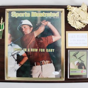 Gary Player Signed Twice Golf Plaque - COA JSA