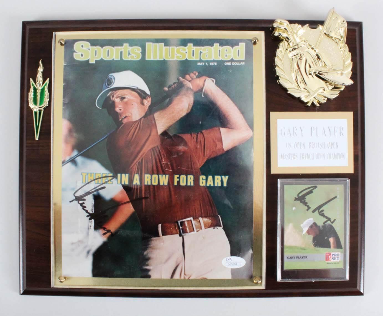 Gary Player Signed Twice Golf Plaque - COA JSA
