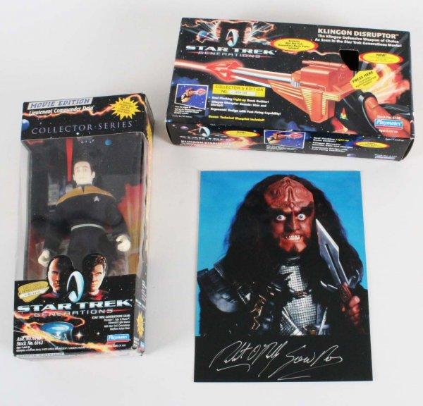 Star Trek Lot - Action Figure, Klingon Disruptor & Signed 8x10 Photo - COA