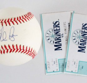 Nolan Ryan Houston Astros Signed OAL (Brown) Baseball 2 Last Game Ticket Stub - COA JSA