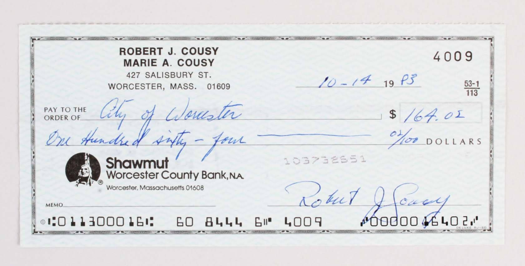 Bob Cousy Signed Check Celtics - COA
