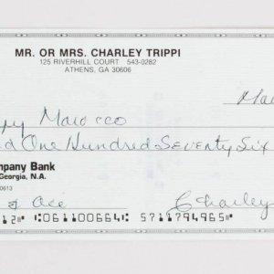 Charley Trippi Signed Check Cardinals - COA