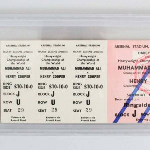 May 21, 1966 - Muhammad Ali vs. Henry Cooper Full Fight Ticket  (Ali 6th Round KO - PSA Graded EX 5(MK)