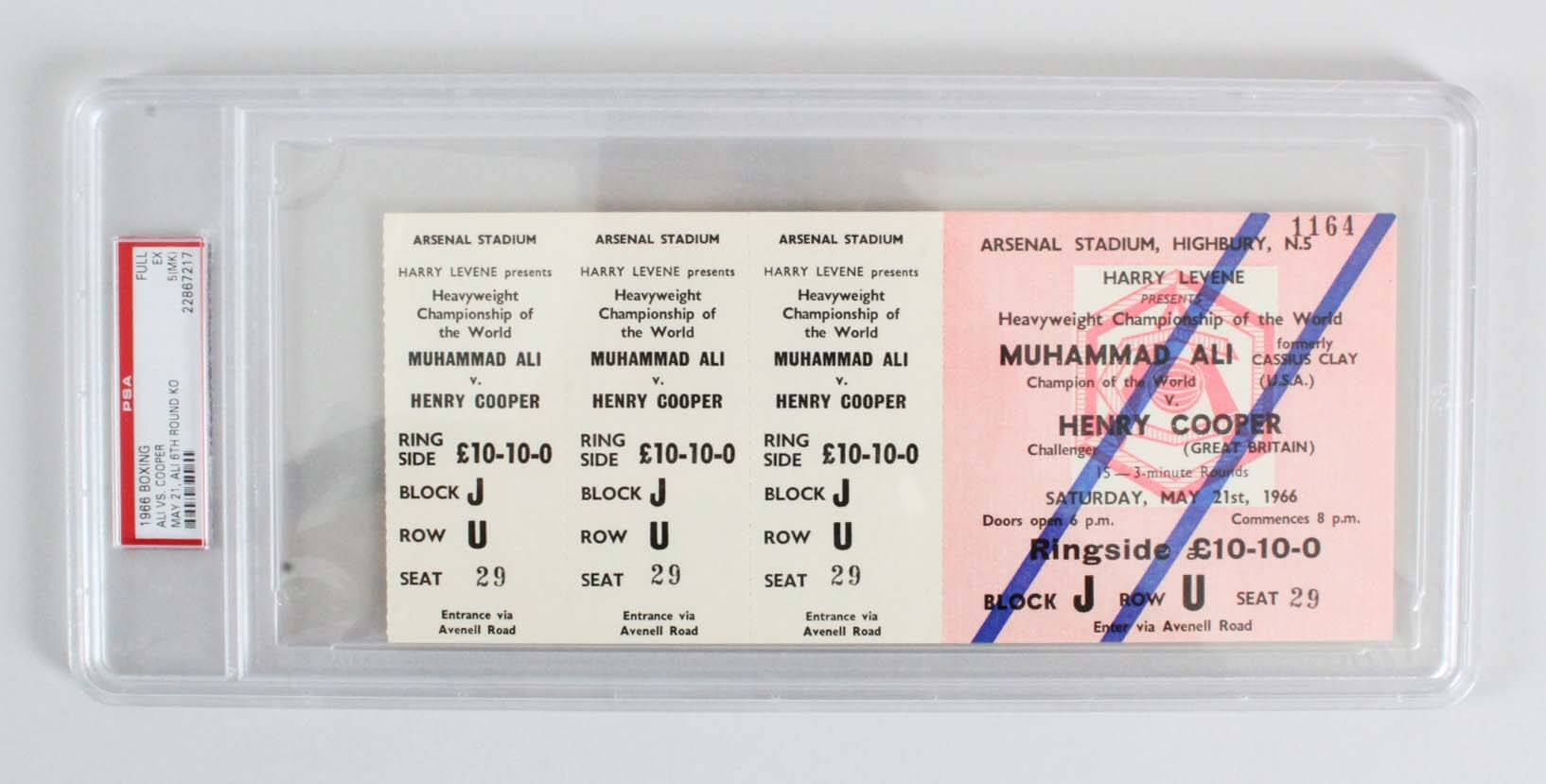 May 21, 1966 - Muhammad Ali vs. Henry Cooper Full Fight Ticket  (Ali 6th Round KO - PSA Graded EX 5(MK)