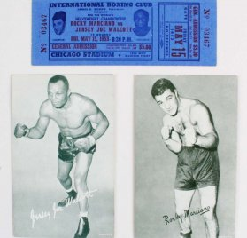"May 15,1953 - Rocky Marciano vs. ""Jersey"" Joe Walcott  Full Fight Ticket & (2) Vending Exhibit Arcade Cards of Rocky & Jersey Joe"