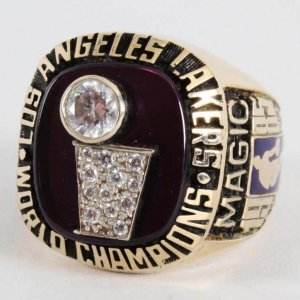 1985 Los Angles Lakers - Magic Johnson World Championship Salesman Sample Jostens 10K Gold Ring