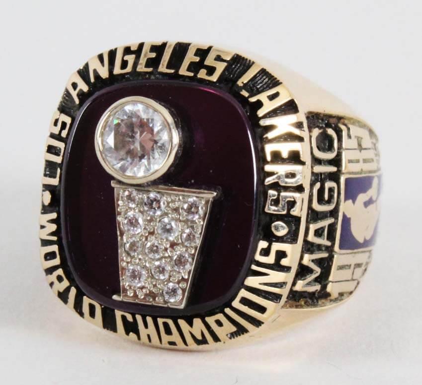 1985 Los Angles Lakers - Magic Johnson World Championship Salesman Sample Jostens 10K Gold Ring