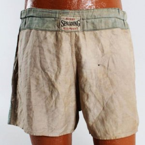 Jack Dempsey's Fight/Training/Sparring Worn Used Spalding Boxing Trunks (Family Letter ) COA 100% Team Grade 16/20