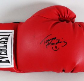 Tonya Harding Signed Everlast Red Boxing Glove - Photo of Signing