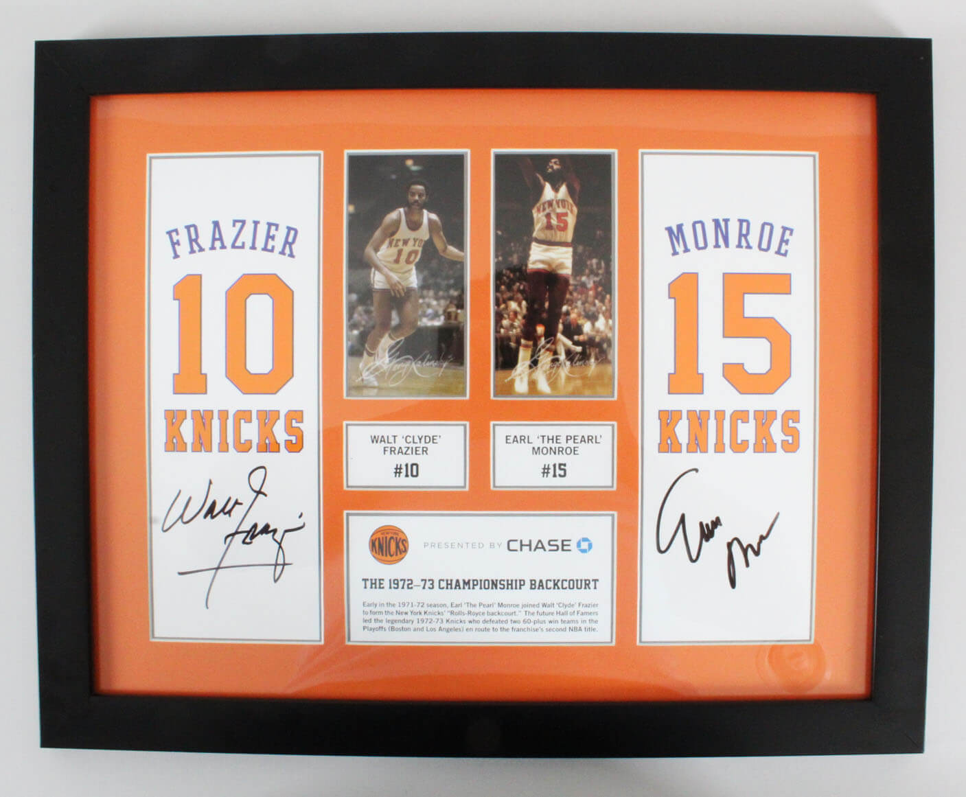 Walt Frazier & Earl Monroe Signed NY Knicks Photo Display -  Team COA