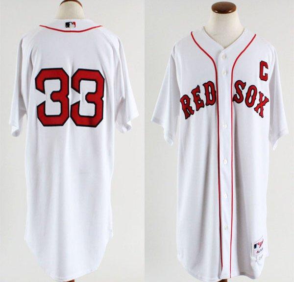 2005 Boston Red Sox Jason Varitek Game-Worn Home Jersey (Feat. Captain's & 2004 World Series Champions Patch)- COA