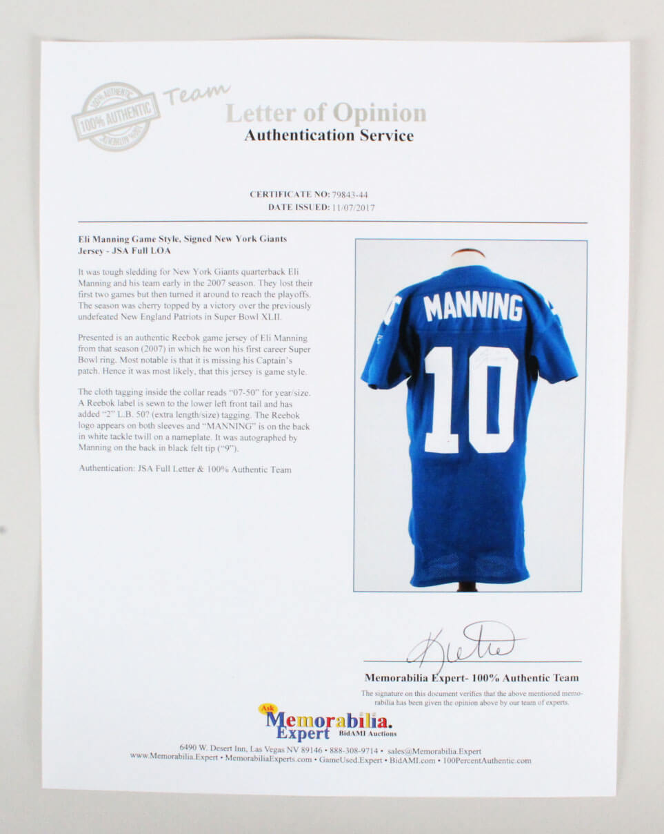 Eli Manning Signed Jersey Pro Cut Giants Coa Jsa Memorabilia Expert
