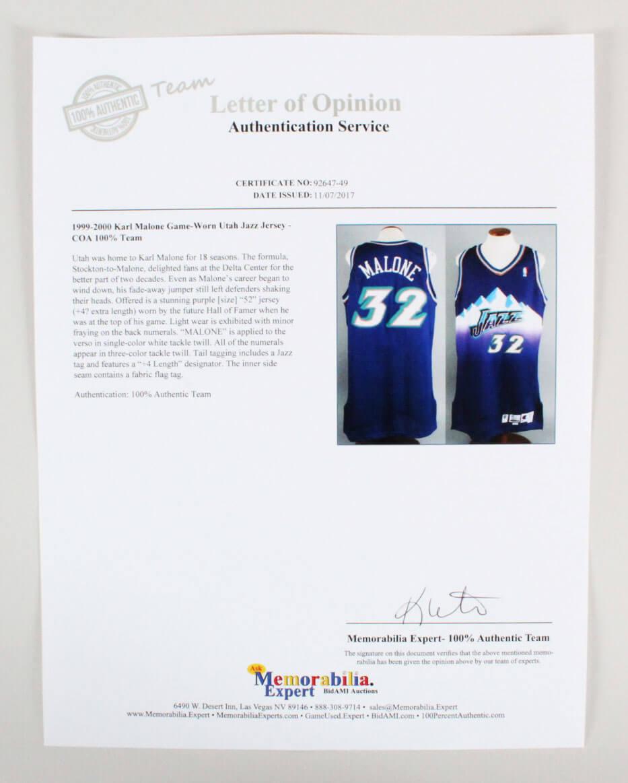 0231c85aa92 1999-00 Karl Malone Game-Worn Jersey Jazz – COA 100% Team | Memorabilia  Expert