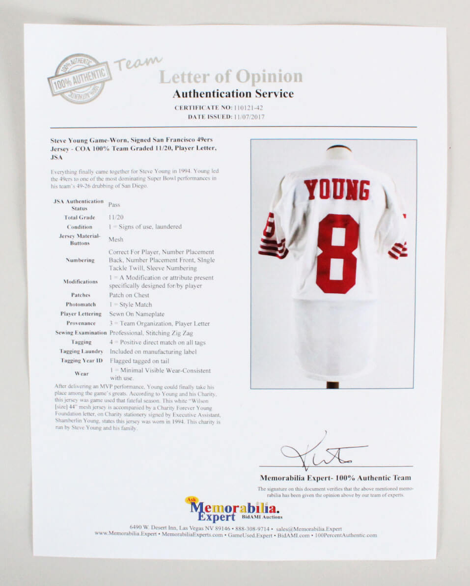 meet 02a97 43403 Steve Young Game-Worn, Signed San Francisco 49ers Jersey – COA 100% Team  Graded 11/20, Player Letter, JSA | Memorabilia Expert