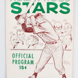1950's Hollywood Stars Baseball Program Score Card vs. Los Angeles Angels