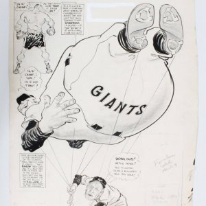 "Willard Mullin Original Art ""Balloon Ascension?"" feat. New York Giants Leo Durocher"