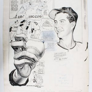 "1953 Willard Mullin Original Art ""You Are Cordially Invited"" feat. New York Giants HOFer Hoyt Wilhelm"