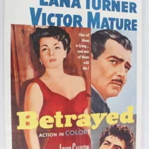 1962 Betrayed One Sheet Movie Poster r62/37 Lana Turner Clark Gable