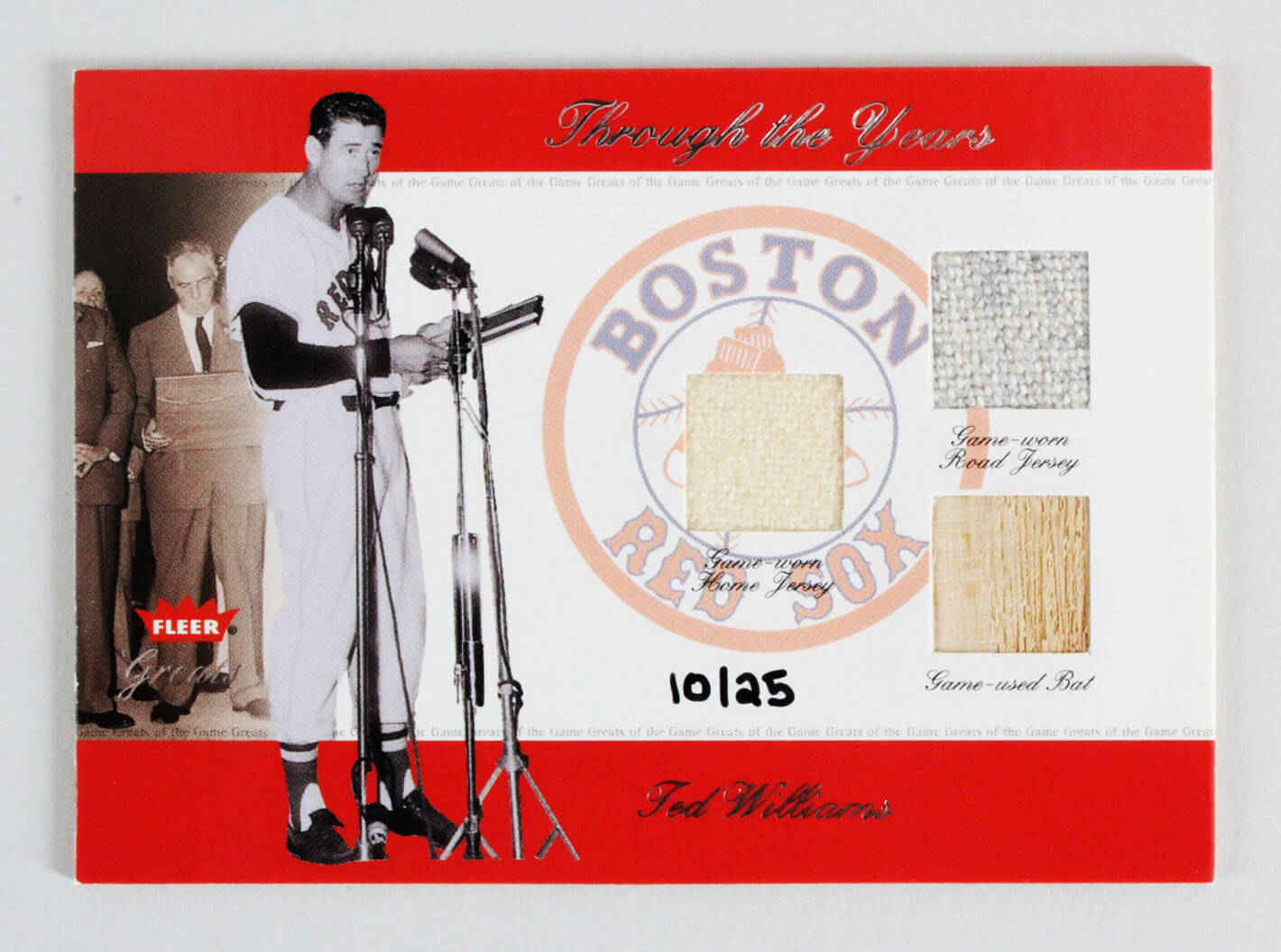 2002 Fleer Greats Ted Williams GU Jersey & Baseball Bat Card Through the Years Boston Red Sox 10/25