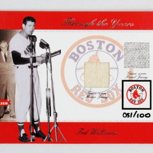 2002 Fleer Greats Ted Williams Game-Used Jersey Card Baseball Through the Years Boston Red Sox 51/100