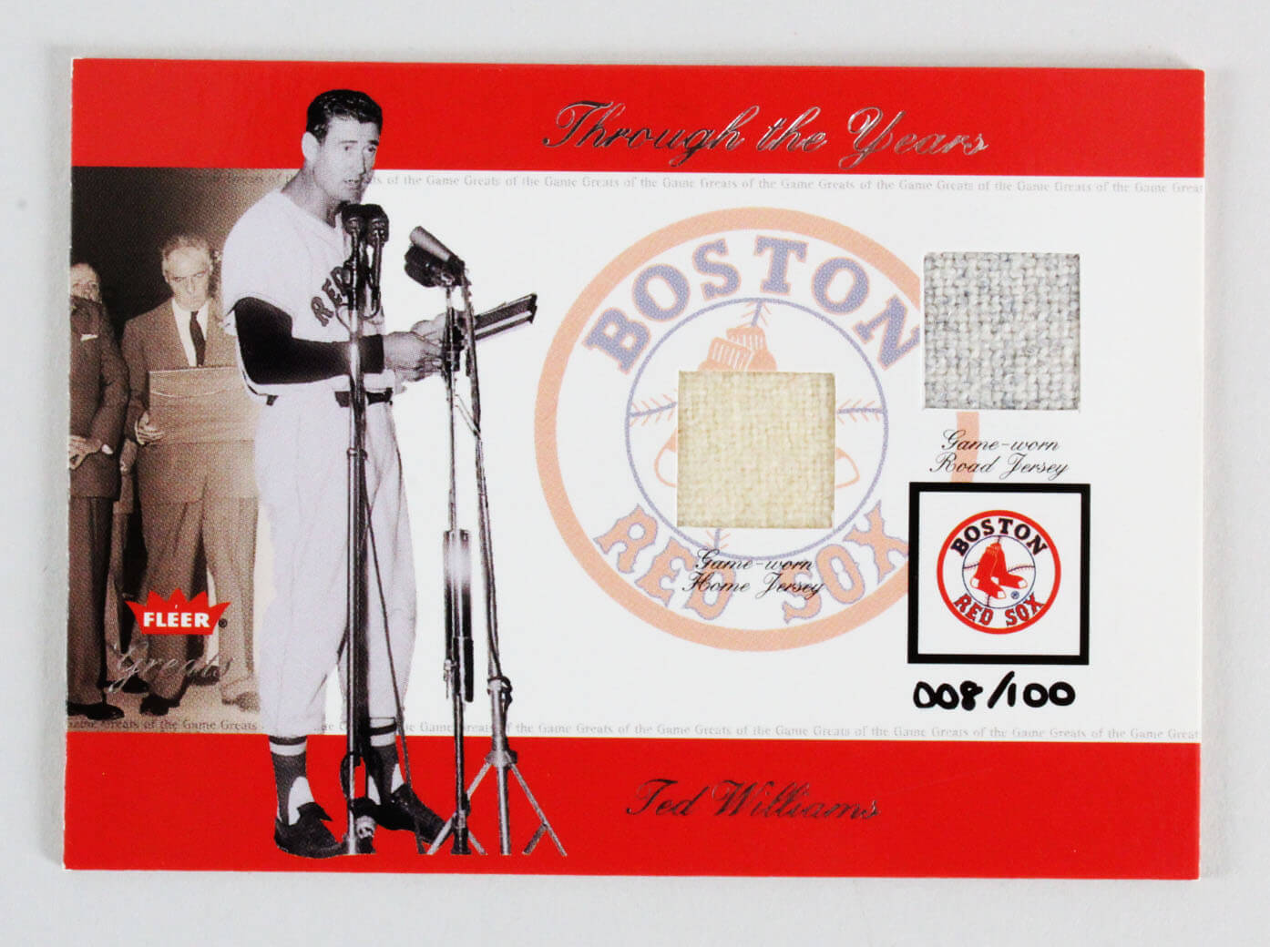 2002 Fleer Greats Ted Williams Game-Used Jersey Card Baseball Through the Years Boston Red Sox 8/100