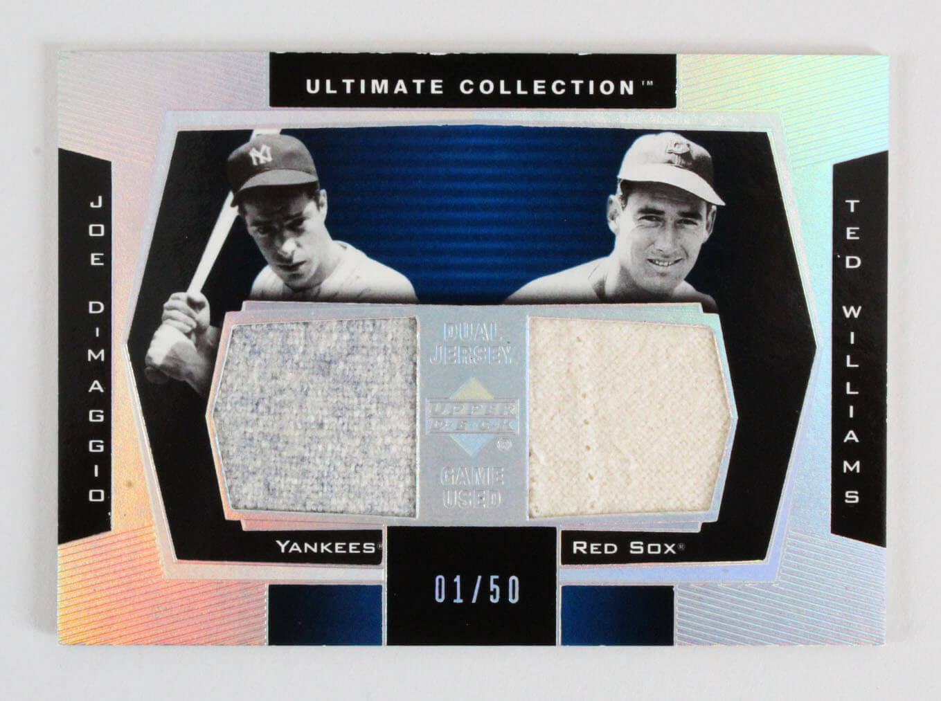 2003 Ultimate Collection Ted Williams & Joe DiMaggio Game-Used Jersey Card DJ-DW 1/50 Yankees Red Sox