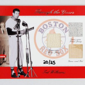 2002 Fleer Greats Ted Williams GU Jersey & Bat Card Baseball Through the Years Boston Red Sox 20/25