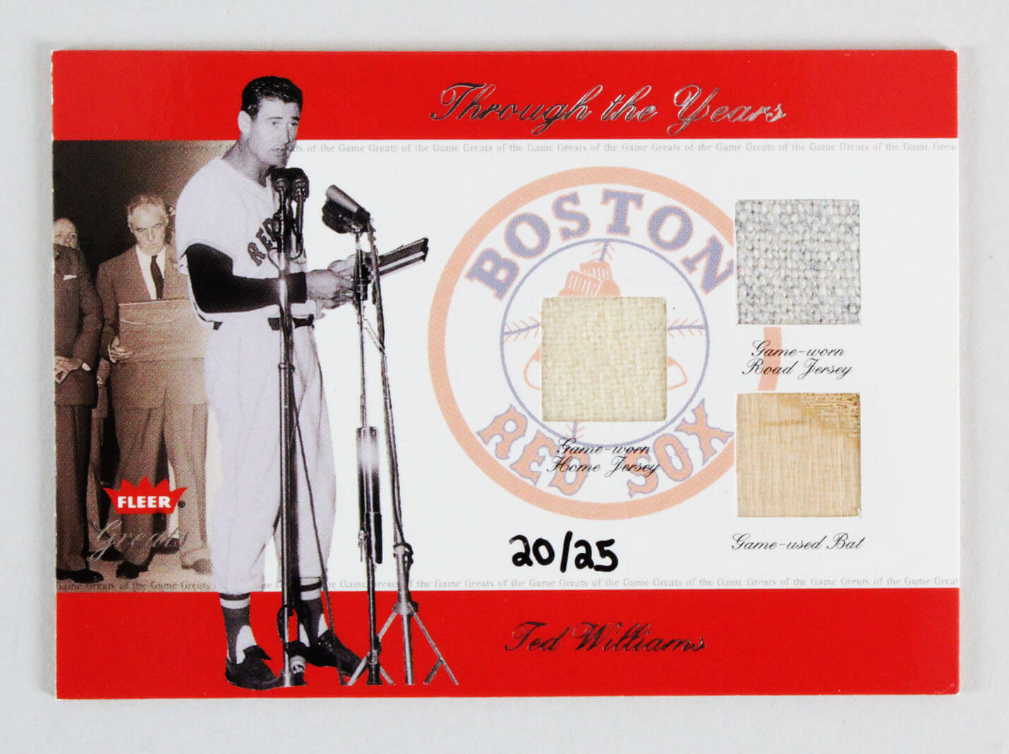 2002 Fleer Greats Ted Williams GU Jersey & Bat Card Baseball Through the Years Boston Red Sox 20/25