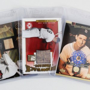 Ted Williams Boston Red Sox Baseball Card Lot (3) 1/1, Game Worn Jersey Patch /100 & Game Used Bat /30