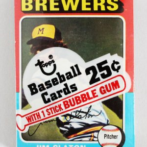 1975 Topps Mini Cello Baseball Card Pack Sealed w/ Stars incl. Jim Slaton, Danny Thompson etc.