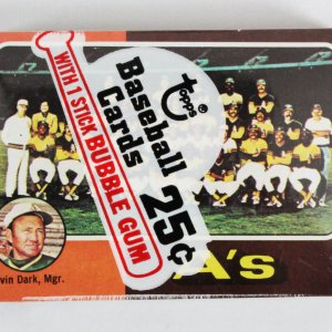 1975 Topps Mini Cello Baseball Card Pack Sealed w/ Stars incl. Oakland A's Team etc.