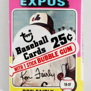 1975 Topps Mini Cello Baseball Card Pack Sealed w/ Stars incl. Ron Fairly etc.